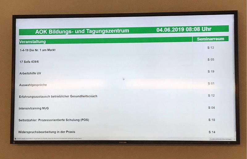 AOK Bildungszentrum: Einsatz ANTRAGO infotafel