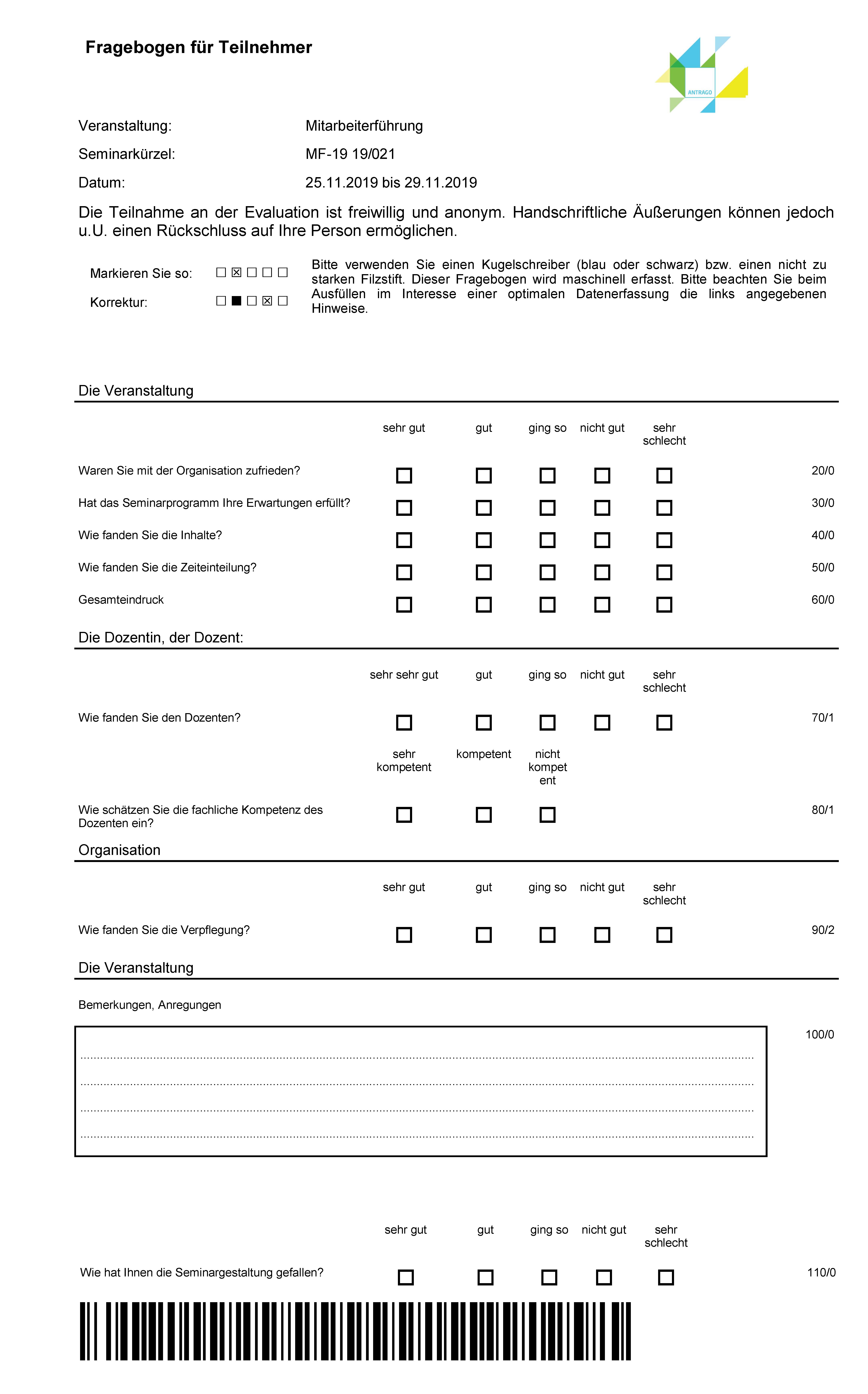 Evaluation in ANTRAGO: Papier-Fragebogen