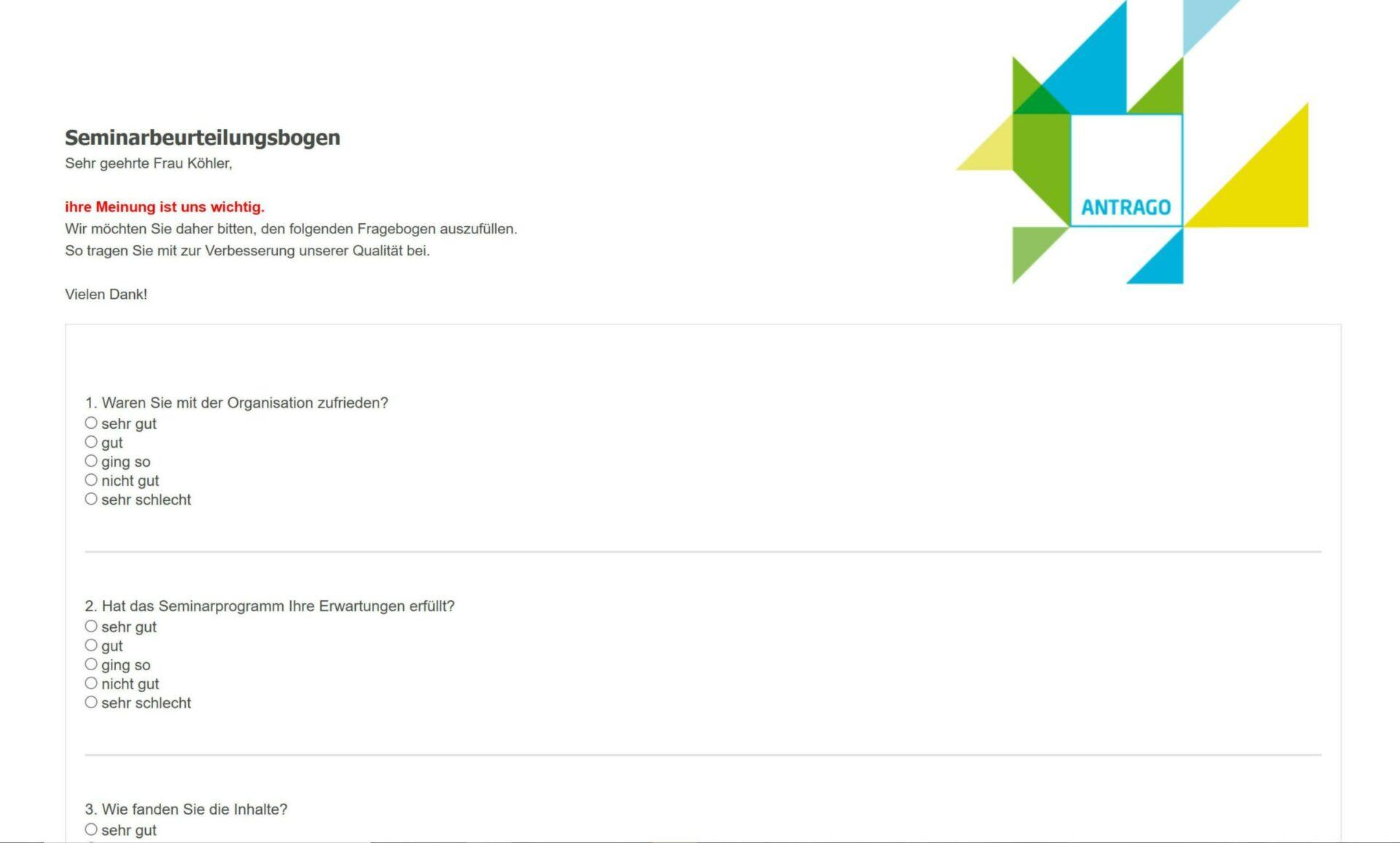 Evaluation in ANTRAGO: HTML-Fragebogen