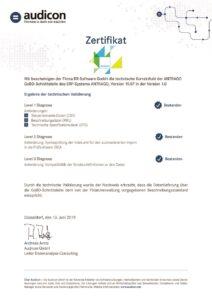 GoBD Zertifikat der RR Software GmbH für ANTRAGO