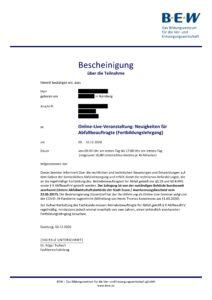 Zertifikat BEW Essen, Seite 1