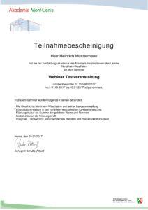 Zertifikat Akademie Mont-Cenis