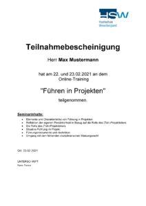Zertifikat Hochschule Weserbergland