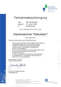 Zertifikat Bayerische BauAkademie