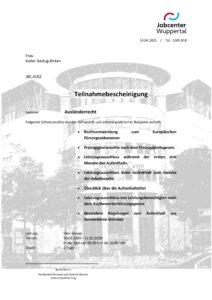 Zertifikat Jobcenter Wuppertal