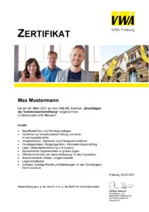Zertifikat Deutsche Immobilien-Akademie an der Universität Freiburg GmbH