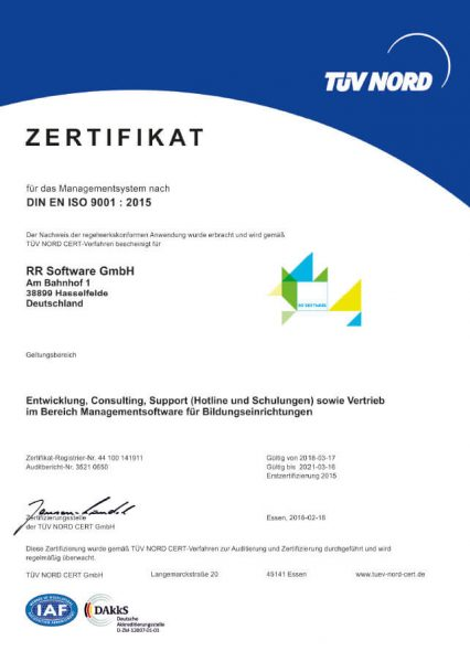 Zertifikat TÜV Nord DIN EN ISO 9001:2015